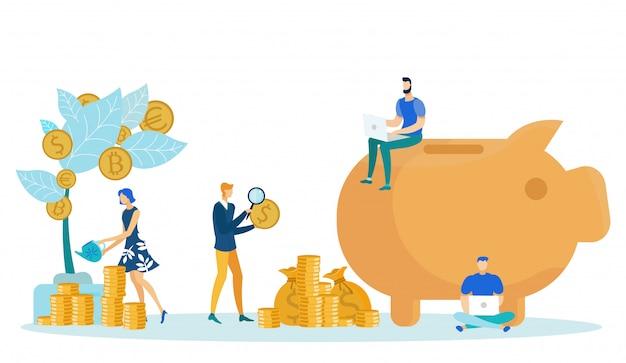 People putting savings into piggy bank money tree. Premium Vector