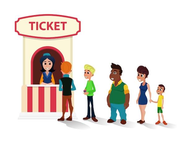 People queue to cinema ticket office  cartoon Premium Vector