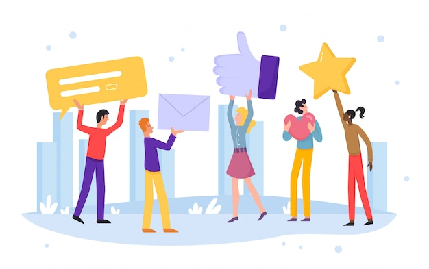 People rate online  illustration. cartoon  customer characters leave positive recommend feedback, rating stars, good reviews, comments or likes in social media concept  on white Premium Vector
