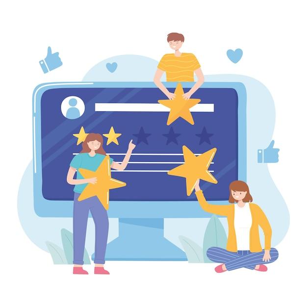 人々の評価とフィードバックのウェブサイトのソーシャルメディアのイラスト Premiumベクター