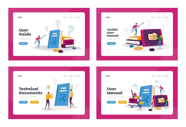 People read book with instructions for equipment. user manual landing page template set. characters discussing content of guide Premium Vector
