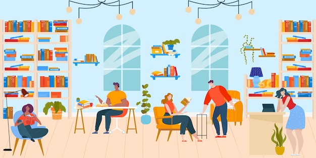 People read books in library flat vector illustration. cartoon happy booklover reader characters sitting at tables and in chairs Premium Vector