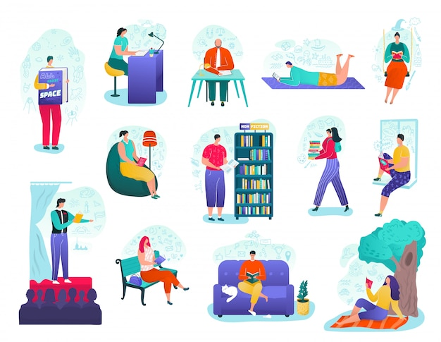 People read books set, education, library and stage public reading    illustrations. literature and books readers and lovers, knowledge, people learning with textbooks on nature. Premium Vector