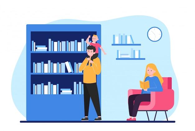 Persone che leggono e scelgono libri Vettore gratuito