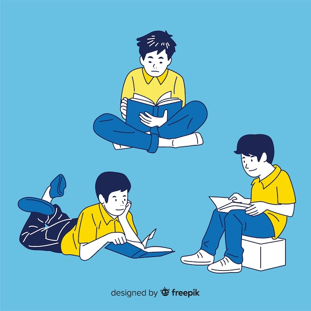 People reading in korean drawing style Free Vector