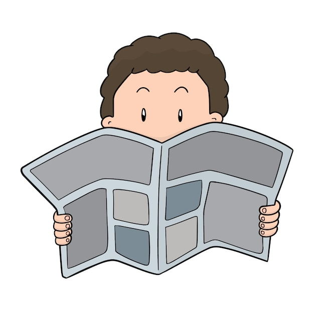 People reading newspaper Premium Vector