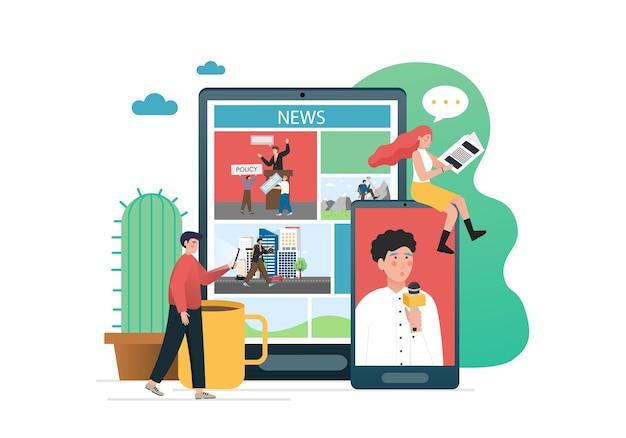 People reading print newspaper, using online news portal Premium Vector