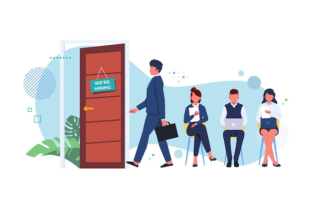 People ready to take their chance in a job interview Premium Vector