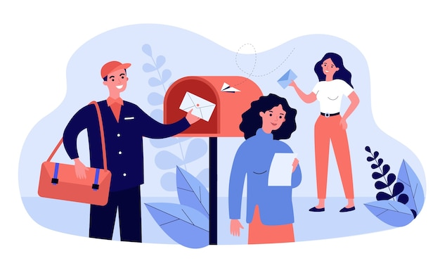 People receiving and reading marketing newsletter. postman placing envelope into mailbox.  illustration for mail service, advertising, post, communication concepts Premium Vector