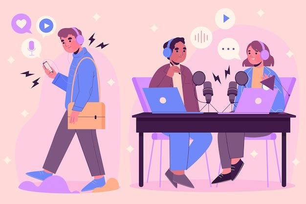 팟 캐스트를 녹음하고 듣는 사람들 무료 벡터