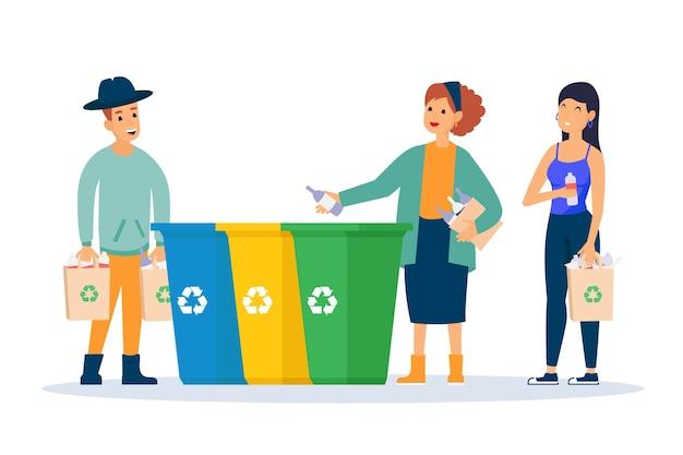 Persone che riciclano insieme Vettore gratuito