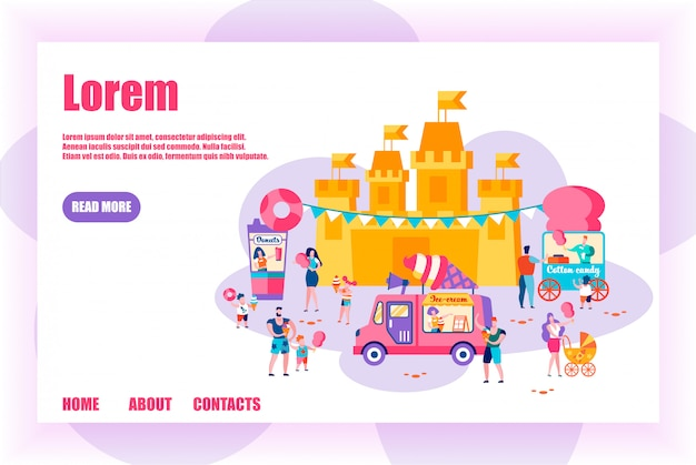 People relaxing in amusement park, family holidays Premium Vector