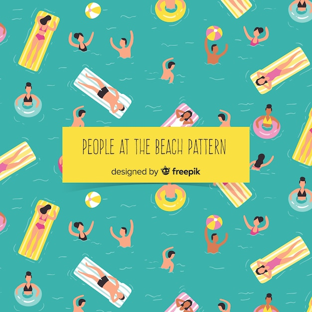 People relaxing at the beach pattern Free Vector