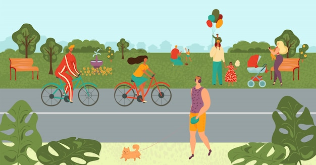 People relaxing in park, bicycling, doing sport, parents playing with kids in nature landscape in summer cartoon  illustration. Premium Vector