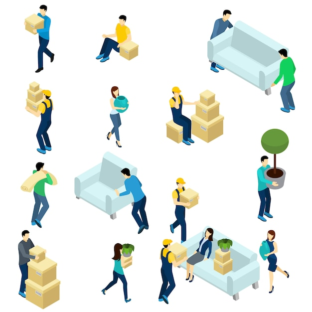 People relocating isometric Free Vector
