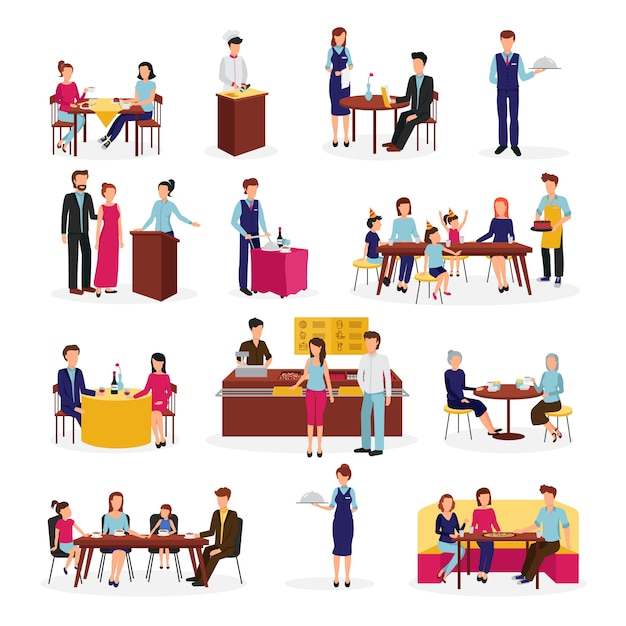 People in restaurant flat icons set Free Vector
