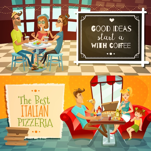 People in restaurant horizontal banners Free Vector