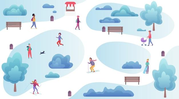 ウィンターパークのトップビューで休んで遊んでいる人。男性と女性の冬の外の活動マップ Premiumベクター