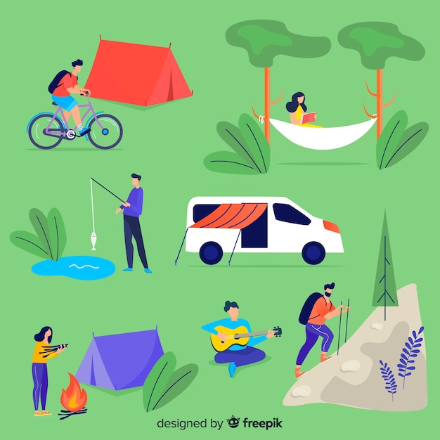 People resting at the camp Free Vector
