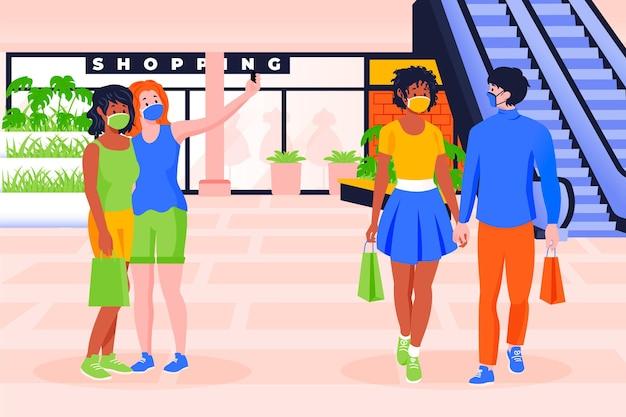 Le persone tornano ai centri commerciali in nuove scene normali Vettore gratuito