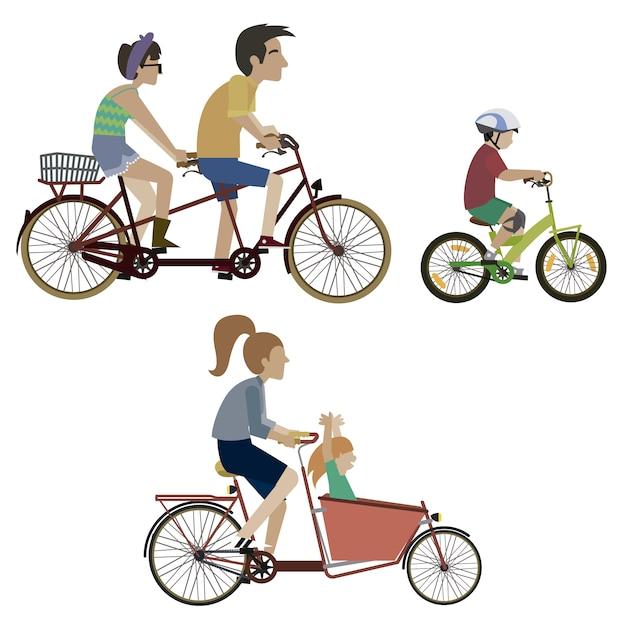 バイクのコレクションに乗っている人 無料ベクター