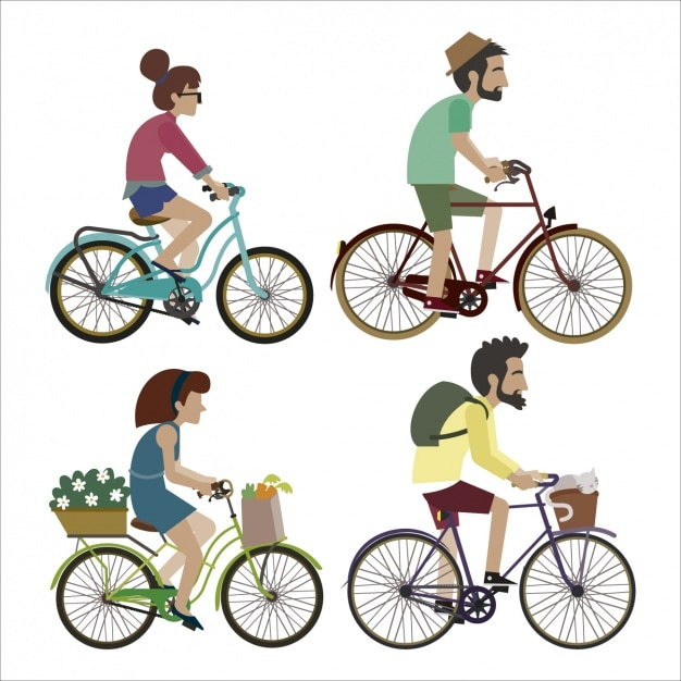 People riding a bike set Free Vector