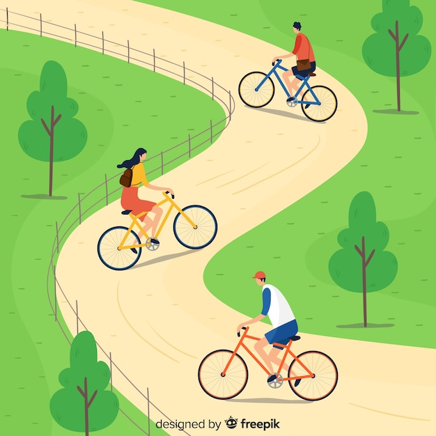 People riding bicycles in the park Free Vector
