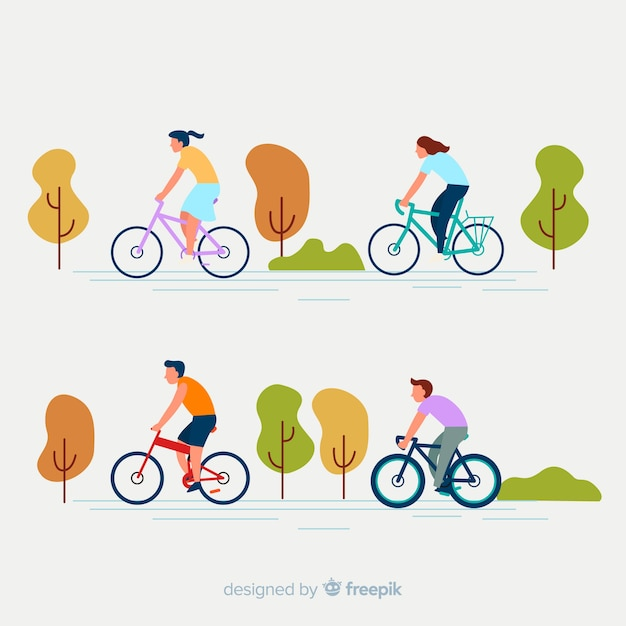 People riding a bike in the park collection Free Vector