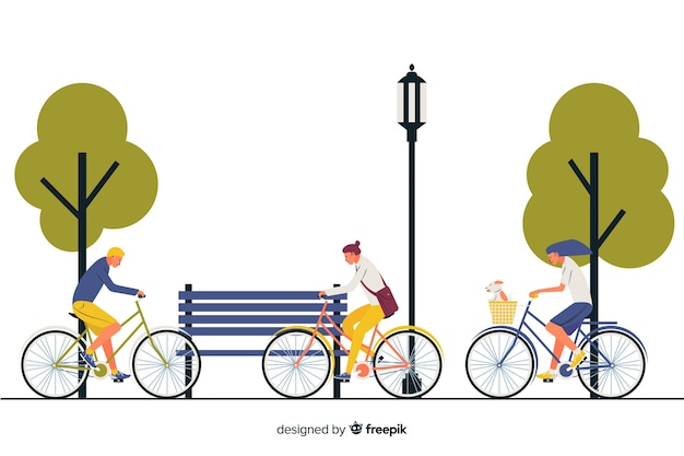 People riding a bike in the park Free Vector