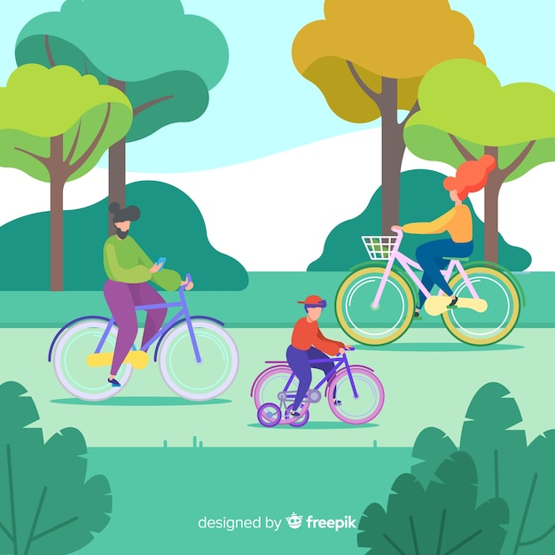 People riding bikes in the park Free Vector