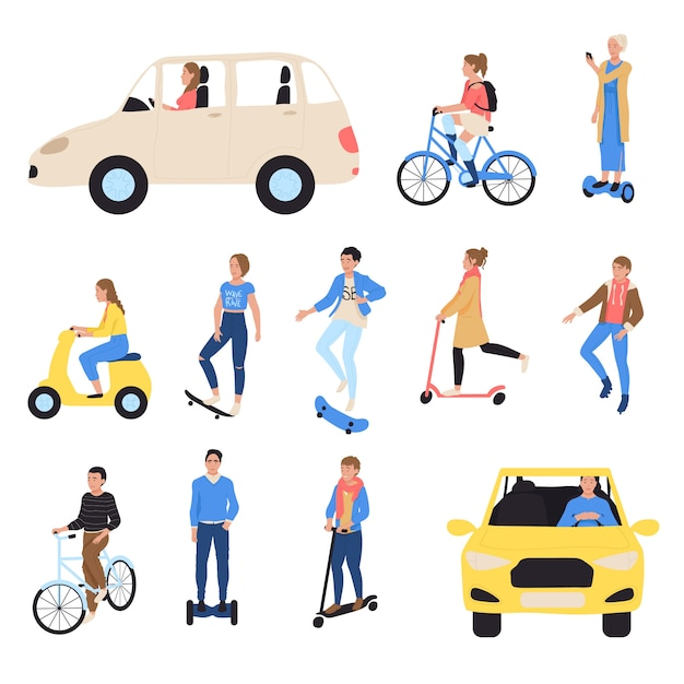 People riding ecological transport, isolated hand draw illustration. cartoon character driving electric car, bicycle, scooter, taxi and skate, skateboard Premium Vector