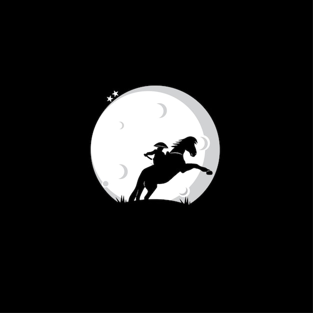People riding horses silhouettes Premium Vector