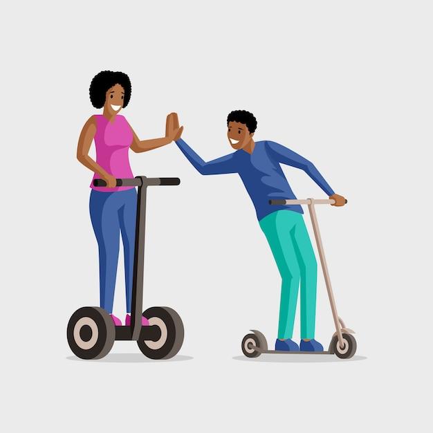 Люди езда скутеры плоской иллюстрации. развлечения, активный отдых, отдых вместе. улыбающиеся мужчина и женщина на удар мопедов героев мультфильмов, изолированных на белом Premium векторы