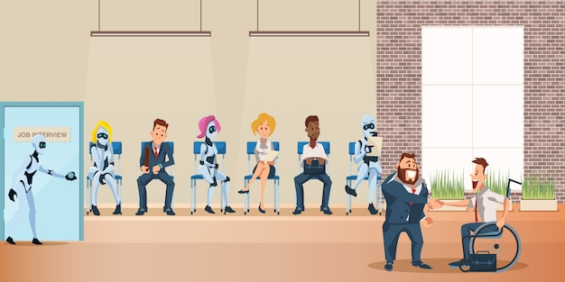 People and robot queue for job interview at office Premium Vector