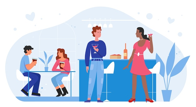 People on romantic love date in bar flat  illustration. Premium Vector