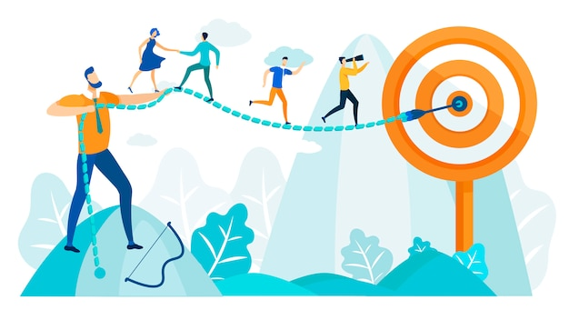 People run to goal, leadership practicing skills. Premium Vector