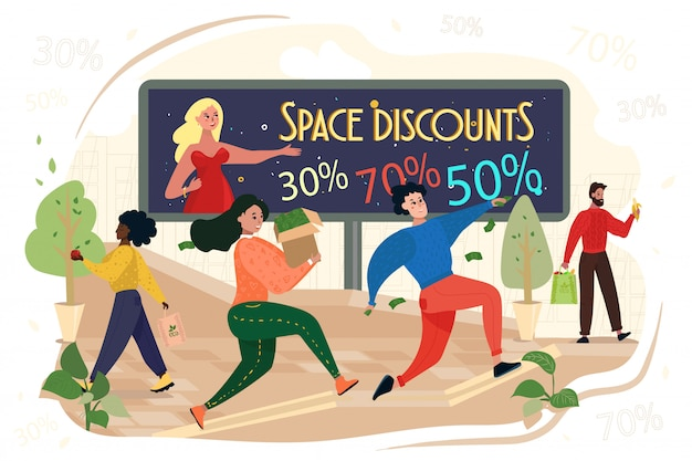 People run with bags in hands, space discounts Premium Vector