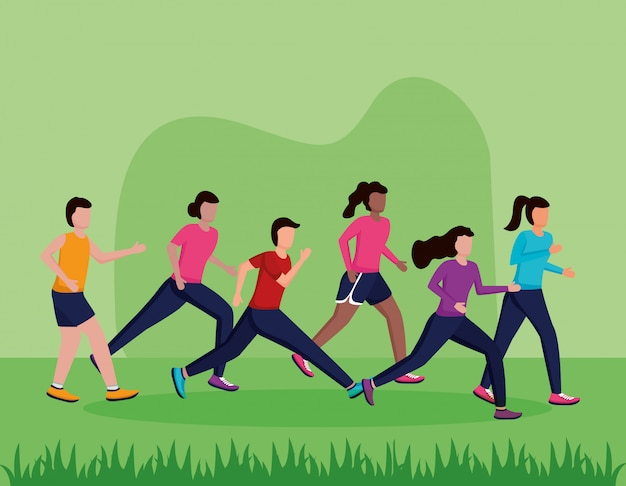 People running activity Free Vector