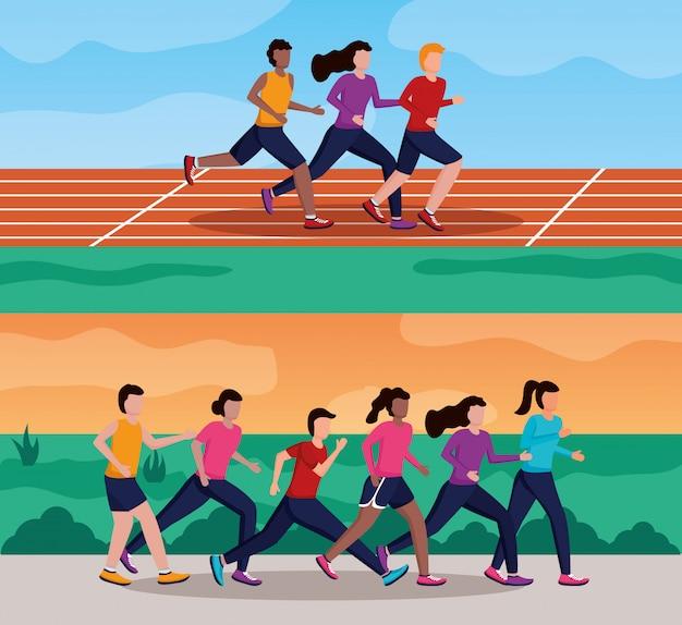 People running activity Free Vector