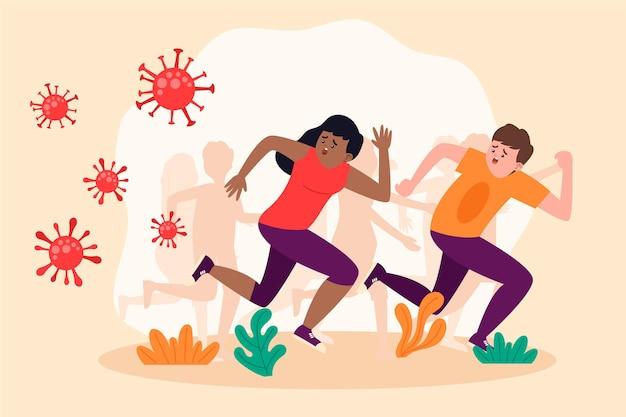 People running away from particles of coronavirus Premium Vector