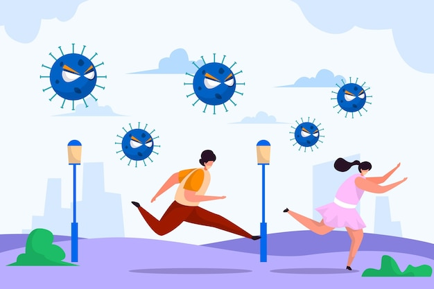 People running away from particles of coronavirus Free Vector