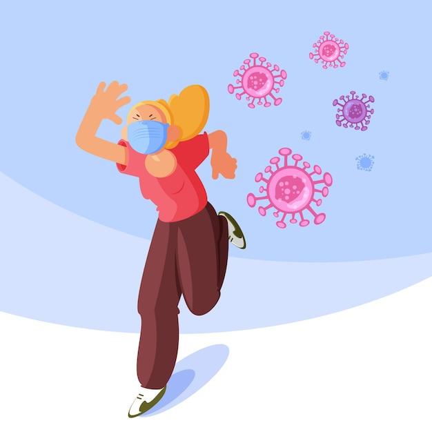 Persone che scappano dalle particelle di coronavirus Vettore gratuito