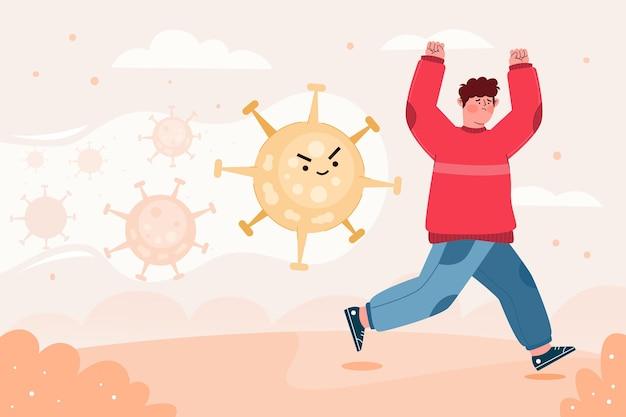 Люди убегают от частиц концепции коронавируса Бесплатные векторы