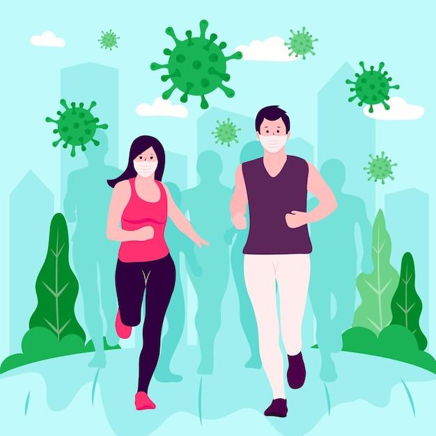 コロナウイルスの粒子から逃げる人々 Premiumベクター