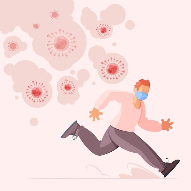 コロナウイルスの粒子から逃げる人々 無料ベクター
