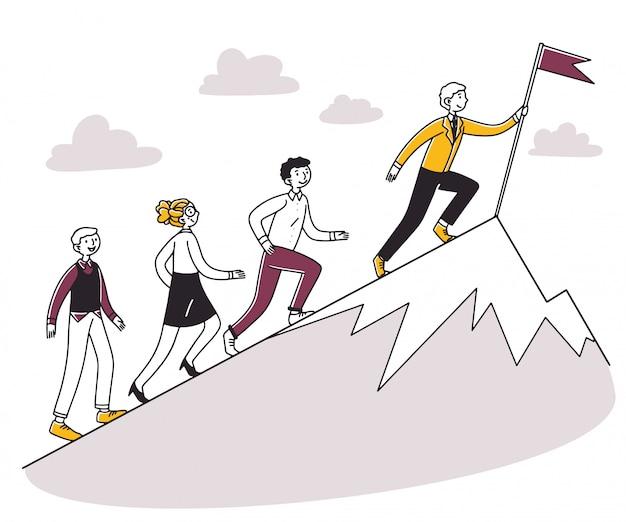 上り坂のリーダーのために走っている人々 Premiumベクター