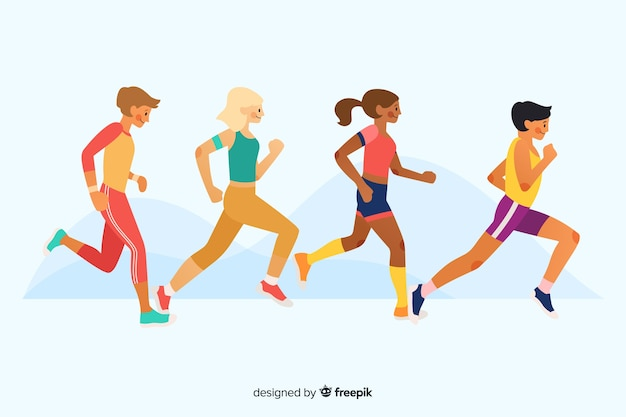 People running a marathon race Free Vector