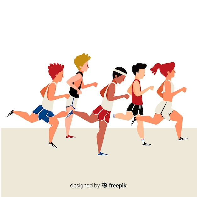 People running at a marathon Free Vector
