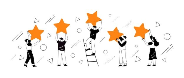 People's characters holding stars. customer reviews concept illustration concept Premium Vector