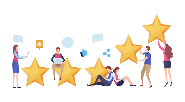 People's giving five star rating. Premium Vector